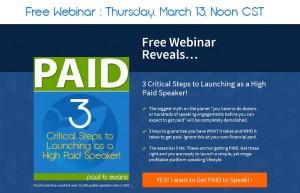 Paul Evans - Free Webinar Paid Public Speaking